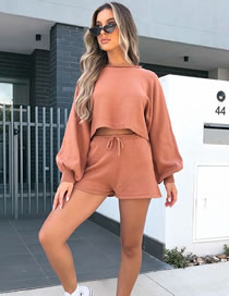 Fashion Brick Red Lantern Sleeve Knit Long Sleeve Sweater Tether Shorts Set
