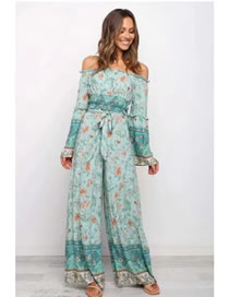Fashion Green Floral Printed Neckline Cropped Top With Belt Wide Leg Pants Suit