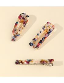Fashion Color Mixing Acrylic Geometric Hollow Alloy Hairpin Set