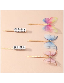 Fashion Color Mixing Net Yarn Butterfly Set With Diamond Letters Alloy Hairpin Set