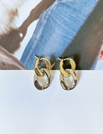 Fashion Gold Color Double Ring Chain Color Matching Hollow Earrings