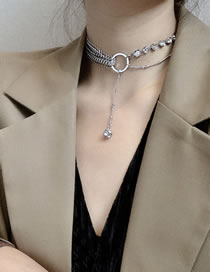 Fashion Silver Color Fishbone Stitching Chain Diamond Alloy Necklace