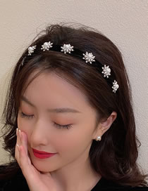 Fashion Black Diamond Pearl Snowflake Fabric Hair Hoop