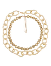 Fashion Gold Color Bead Alloy Thick Chain Hollow Multilayer Necklace