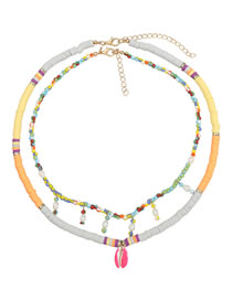 Fashion Color Multi-layered Necklace Of Soft Ceramic Small Round Rice Bead Imitation Pearl Shell Pendant