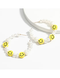 Fashion Earring Rubber Smiley Imitation Pearl Alloy Earrings Necklace