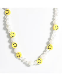 Fashion Necklace Rubber Smiley Imitation Pearl Alloy Earrings Necklace