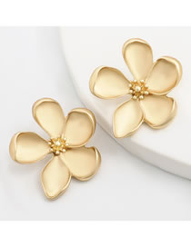 Fashion Gold Color Alloy Flower Irregular Earrings