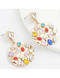 Fashion Gold Color Round Alloy Diamond Acrylic Earrings