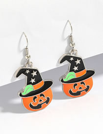Fashion Orange Pumpkin Pumpkin Ghost Alloy Drop Oil Halloween Earrings