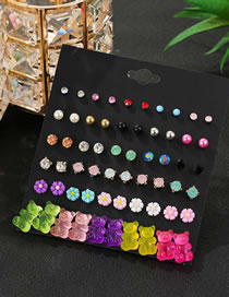 Fashion Color Mixing Resin Bear Hit Color Diamond Flower Alloy Earring Set