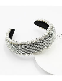 Fashion White Sponge Diamond-studded Geometric Wide-brimmed Headband