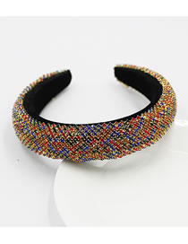 Fashion Striped Color Rhinestone Striped Sponge Broad-edged Headband