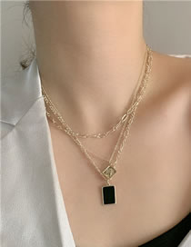 Fashion Gold (realgold Plated) Geometrical Alloy Real Gold Multi-layer Necklace