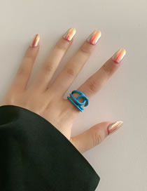Fashion Blue Oil Painting Geometric Lines Stacking Hollow Ring
