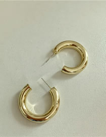 Fashion Large Circle Ofgold (3 Cm In Diameter) Metal C-shaped Geometric Hollow Earrings