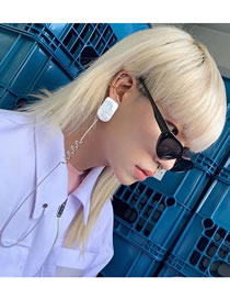 Fashion Silver Color Numeric Keypad Telephone Line Tassel Two Brooch Integrated Earrings