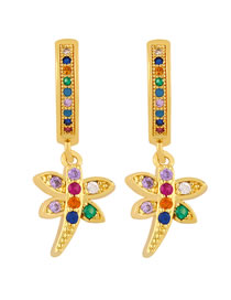 Fashion Dragonfly Real Gold-plated Insect Dragonfly Elephant Earrings