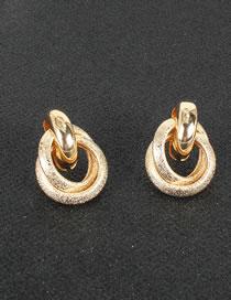 Fashion Golden Alloy Geometric Circle Hollow Earrings