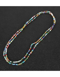 Fashion Color Crystal Beaded Multilayer Necklace
