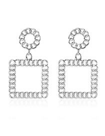 Fashion Silver Alloy Geometric Square Hollow Earrings