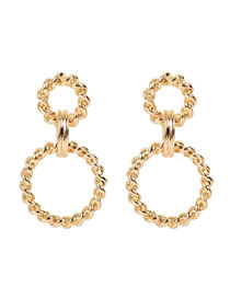 Fashion Golden Alloy Plating Geometric Round Earrings