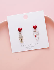 Fashion White Asymmetric Small Fish Cat Dripping Oil Alloy Earrings