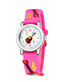 Fashion Rose Red 6d Embossed Guitar Plastic Band Childrens Quartz Watch