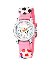 Fashion Pink 6d Embossed Football Pattern Digital Face Childrens Sports Watch