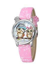 Fashion Pink Owl Pattern Diamond Belt Children Watch