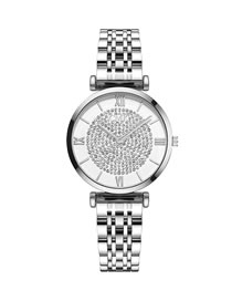 Fashion Silver Quartz Watch With Diamond Gypsophila Dial