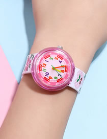 Fashion Cherry Strap Printed Strap Plastic Strap Children Watch