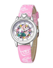 Fashion Pink Princess Pattern Silver Shell Diamond Belt Children Watch