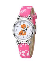 Fashion Rose Red Puppy Pet Pattern Silver Case Digital Face Quartz Childrens Watch