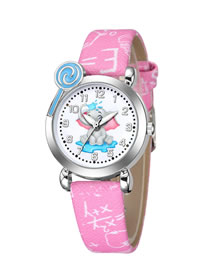 Fashion Pink Elephant Pattern Silver Shell Digital Face Printing Pu Band Kids Watch