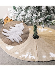 Fashion Eight Piece Skirt With Imitation Hemp Embroidery Imitation Linen Embroidered Elk Tree Snowflake Tree Skirt 122cm48 Inches