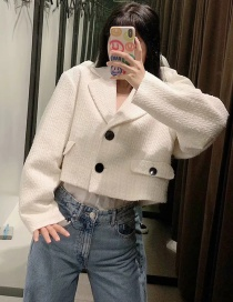 Fashion White Woollen Lapel Single-breasted Cropped Coat