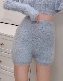 Fashion Blue Solid Color Elastic Waist Knitted Shorts