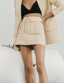 Fashion Khaki Pleated Solid Color Skirt With Stitching Pockets