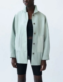 Fashion Green Faux Leather Panel Single-breasted Jacket