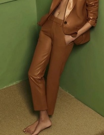 Fashion Brown Faux Leather Solid Color Long Pants