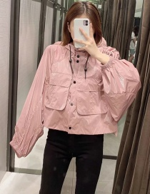 Fashion Pink Shiny Hooded Solid Color Panel Jacket