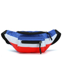 Fashion Red White Blue Stitching Contrast Color Zipper Childrens Shoulder Chest Bag