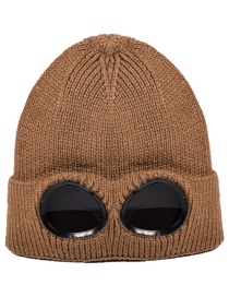 Fashion Light Coffee Windproof And Cashmere Knitted Warm Ski Hat