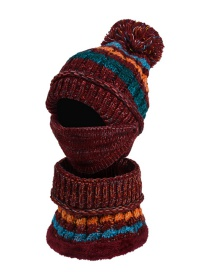 Fashion Wine Red Three-piece Set Of Woolen Knitted Hat Scarf And Mask
