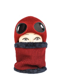 Fashion Wine Red Wool Warm With Windproof Glasses And Velvet Thick Hat