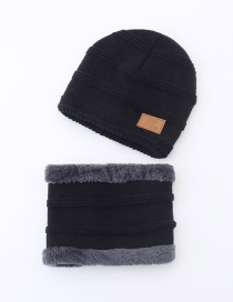 Fashion Childrens Black Plush Thick Letter Mark Knitted Hat And Scarf Set