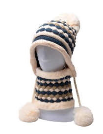 Fashion Beige Woolen Thick Wool Ball Ear Protection Neck Protection Knitted Hat Bib Set