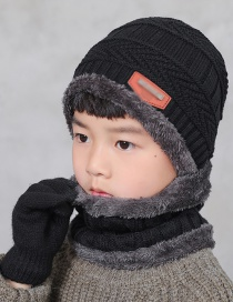 Fashion Children Black Letter Logo Knitted Wool Hat Scarf Gloves Three-piece Suit
