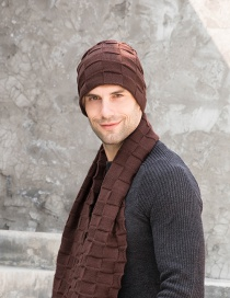 Fashion Two-piece Coffee Set Plaid Knitted Thermal Hedging Wool Hat Scarf Glove Set